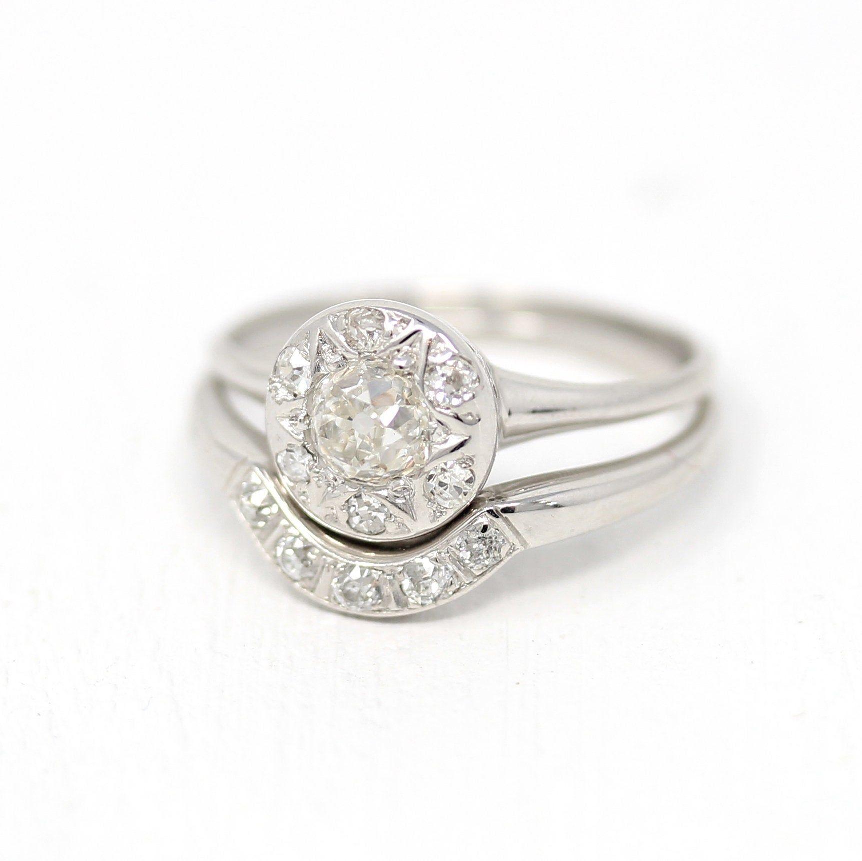 Vintage Wedding Ring Set 18k White Gold .83 CTW Diamond