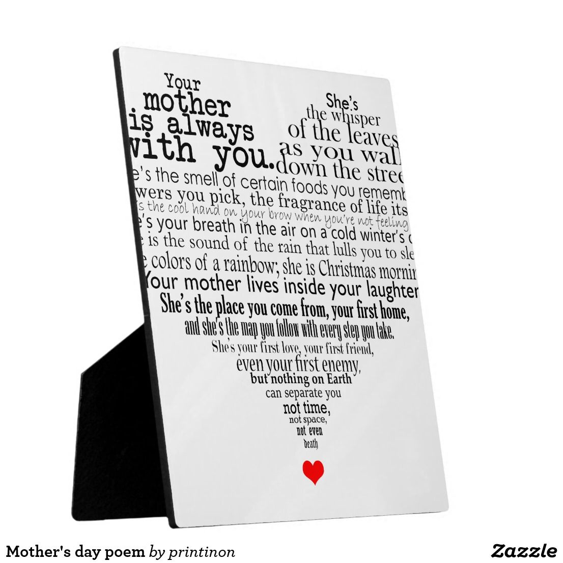 Mother S Day Poem Plaque Zazzle Com Mothers Day Poems