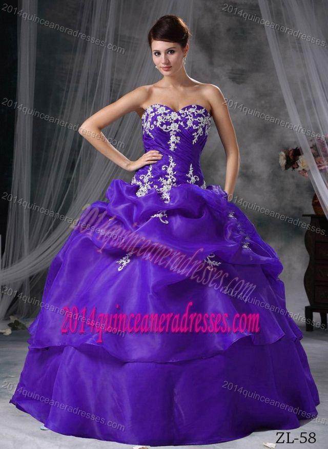 Hot Sale Purple Sweetheart Sweet Sixteen Dress with Pick-ups and ...