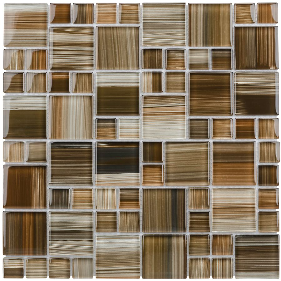 Shop Elida Ceramica 12-in x 12-in Glass Mosaic Dark Straw Brush ...