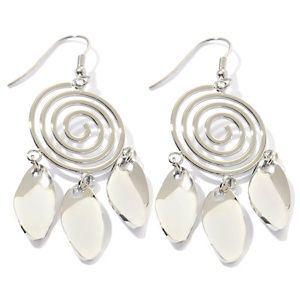 Stately Steel Spiral-Design Chandelier Drop Earrings at HSN.com ...