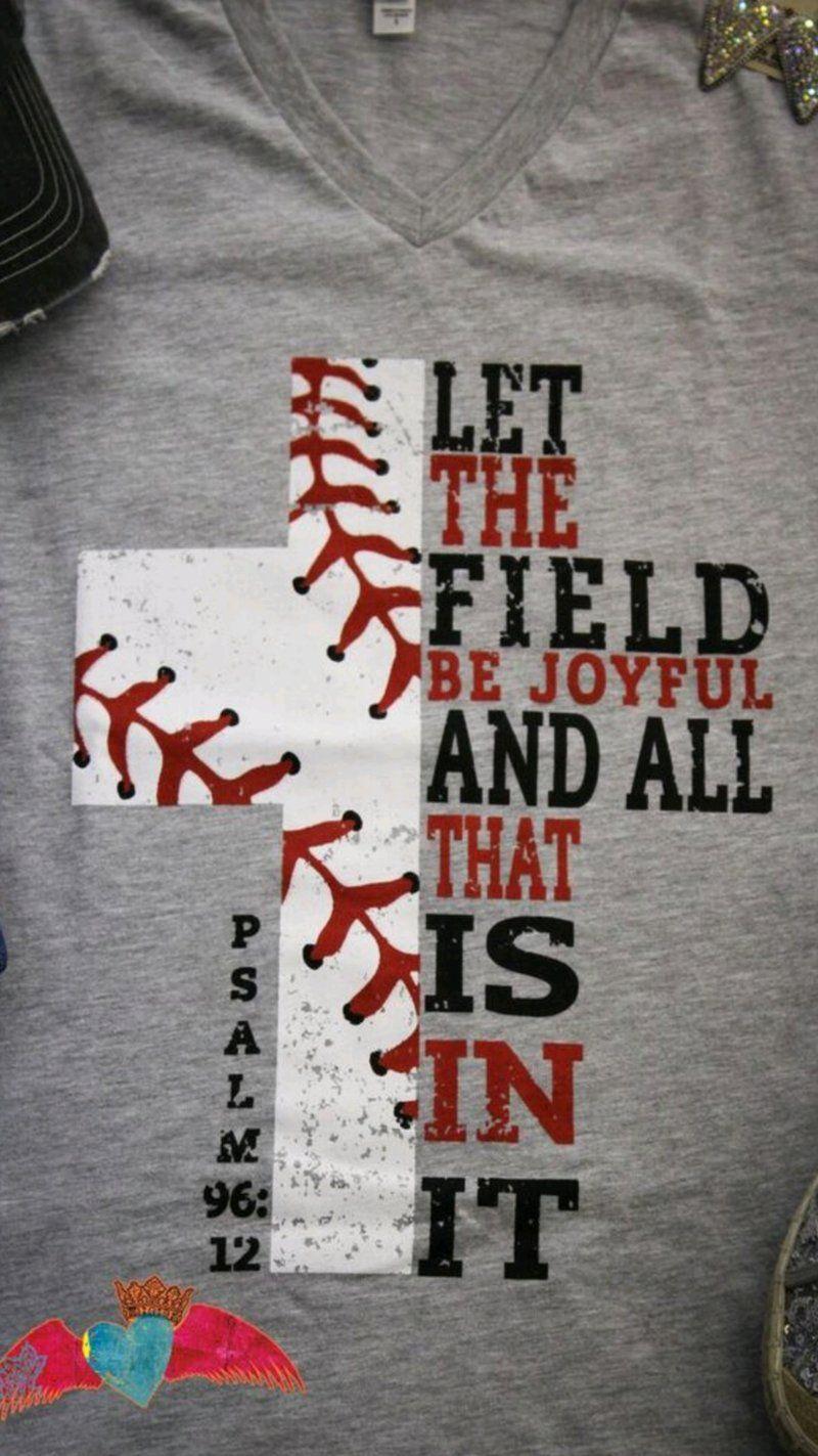 Photo of Baseball Cross V-Neck Psalm 96:12