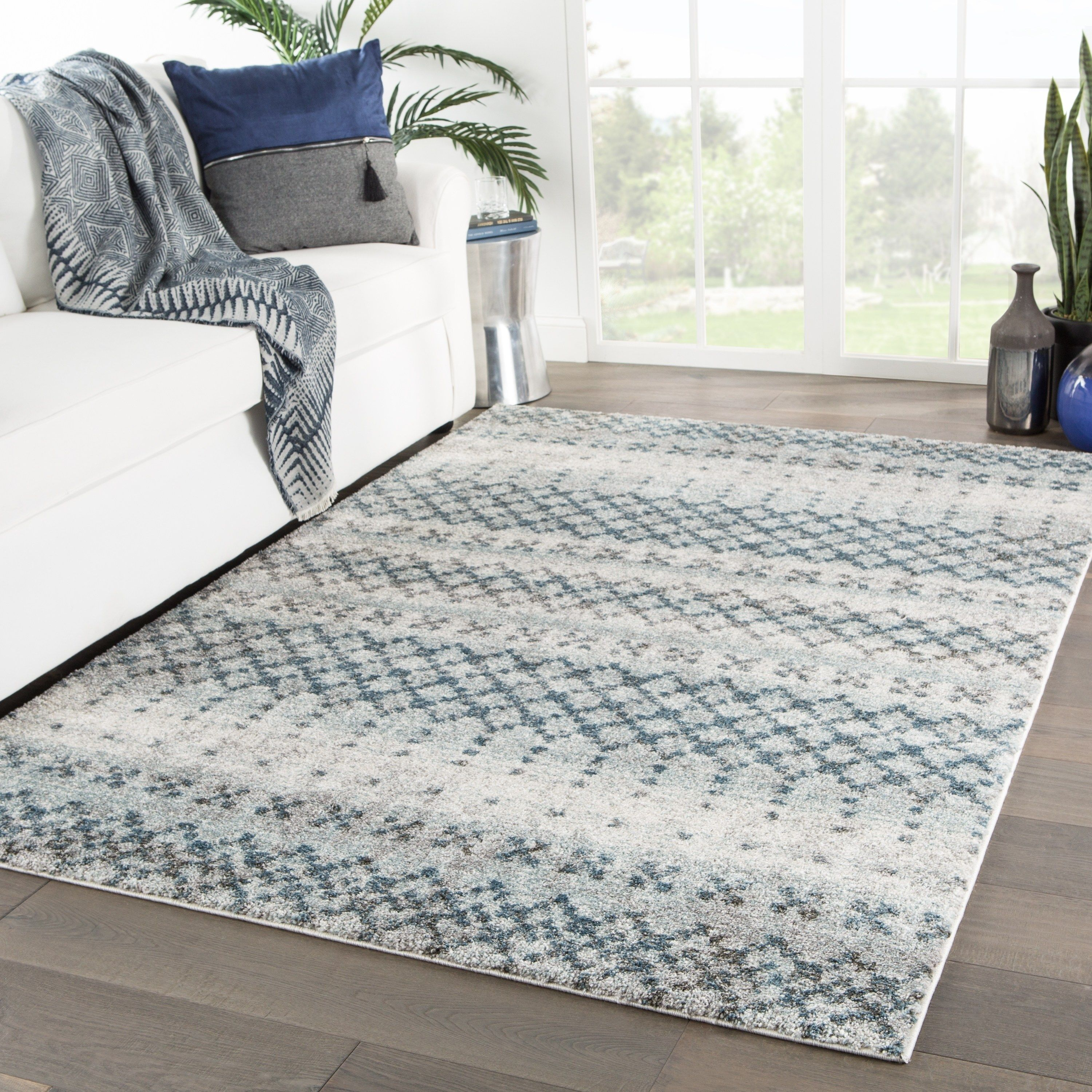 Tanjia Trellis Blue Gray Runner Rug 2 6 X 8 Runner 2 6 X 8 Runner Blue Grey Juniper Home Beige Area Rugs Cream Area Rug Rugs