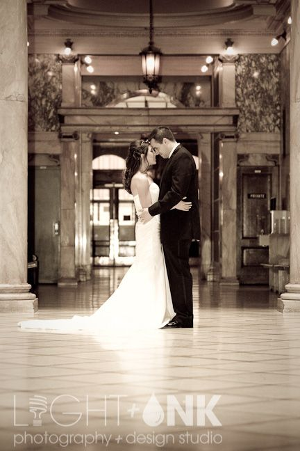 Bride And Groom In Monroe County Office Building Rochester Ny
