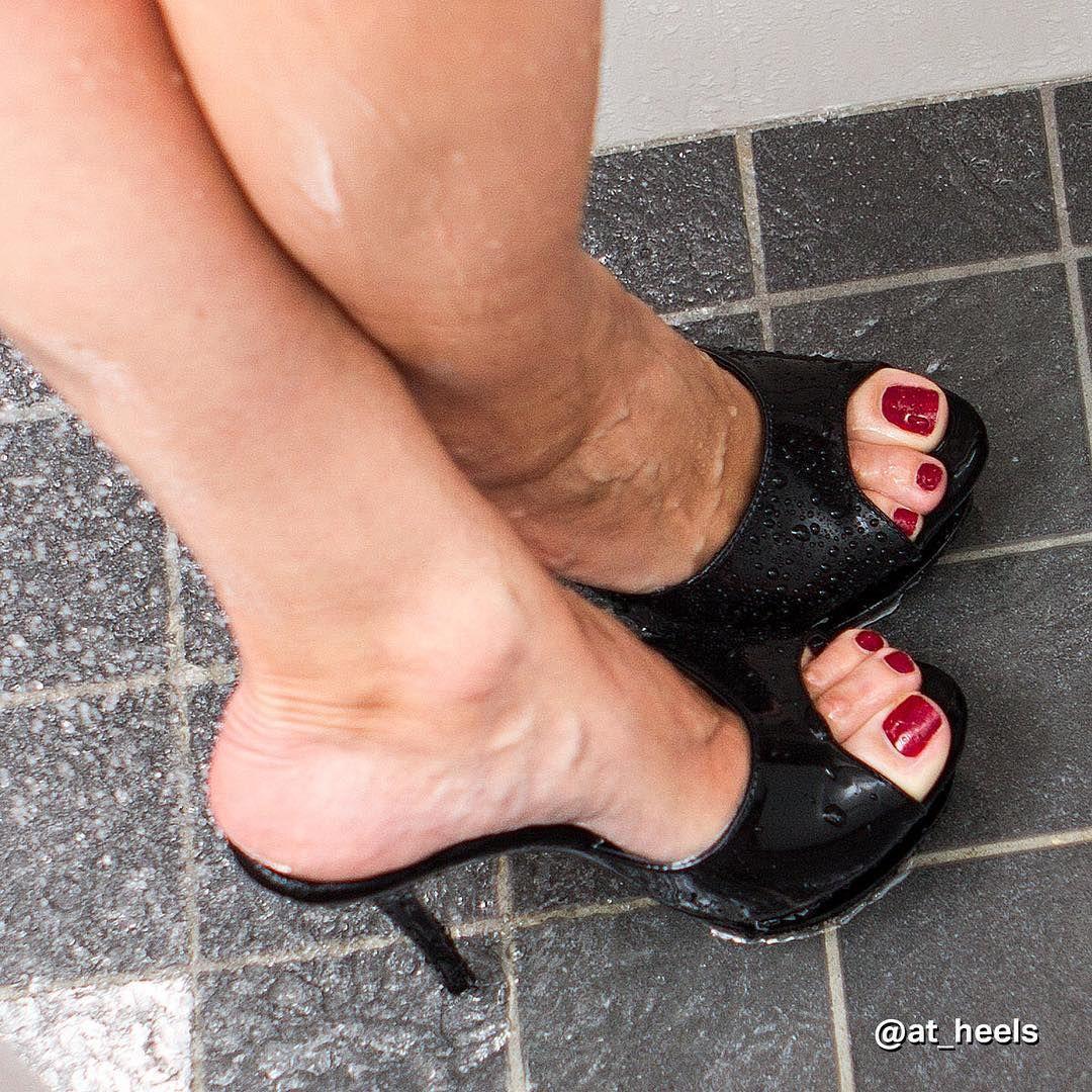 wet, black mules, and great feet | heels | pinterest | high heel
