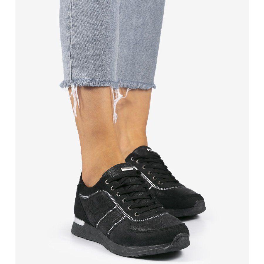 Czarne Buty Sportowe Z Eko Zamszu 6162 Y Wedge Sneaker Shoes Sneakers