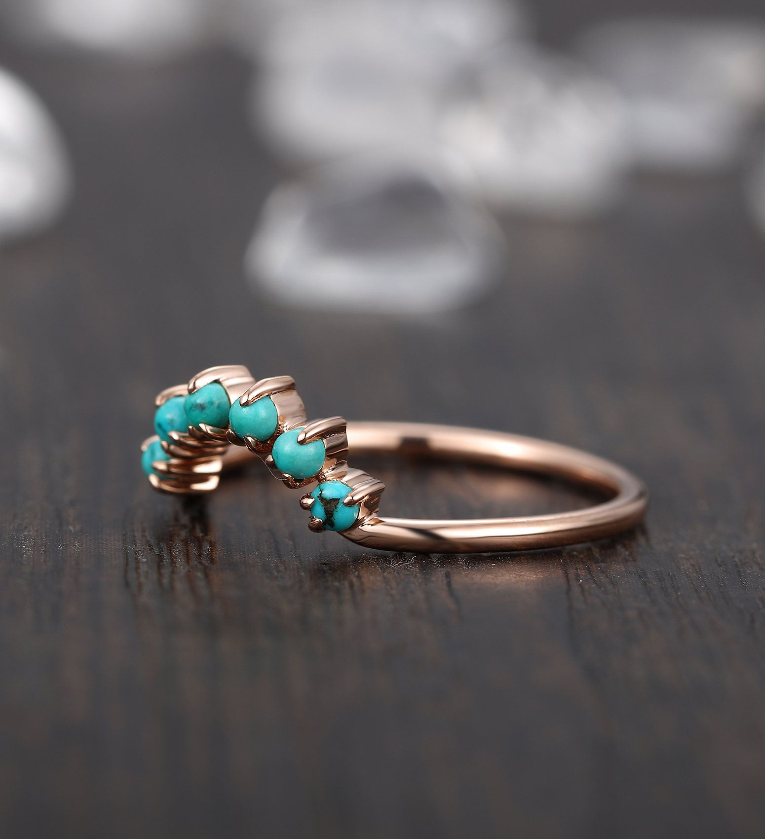 Vintage turquoise wedding band rose gold woman curved round /& marquise cut Art Deco unique  Dainty antique Promise anniversary gift for her
