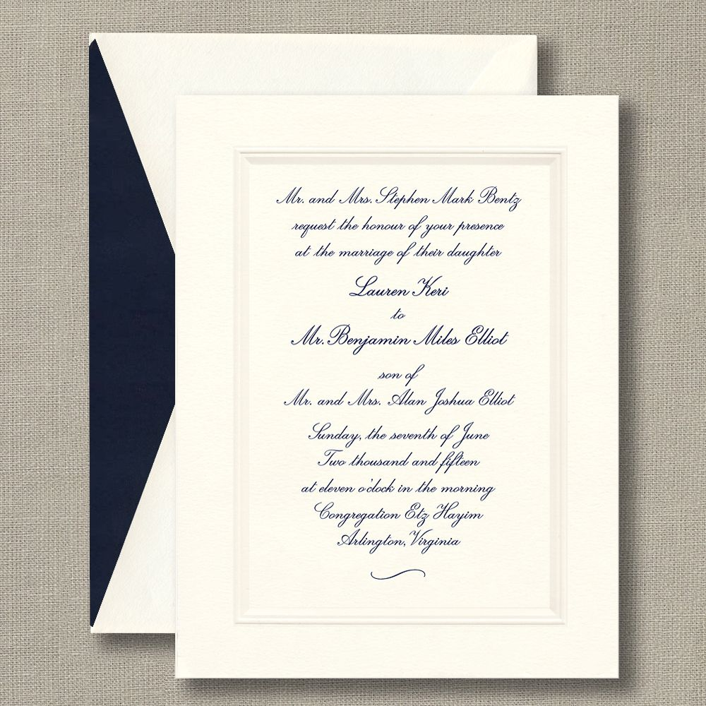 Traditional Engraved Wedding Invitations: Embossed Double Bordered Warm White Wedding Invitations