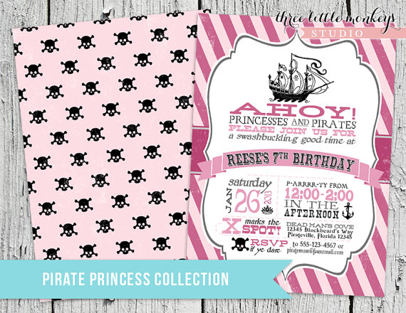 Pirate Princess Birthday Party Pack Invitation And Matching Party