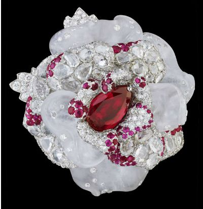 """Collection """"The Ball of Roses"""" by Dior Joaillerie    """"Bal de Paris"""", white gold , diamond , ruby and white crystal."""