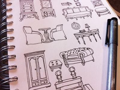Vintage furniture sketch by Carley Lee