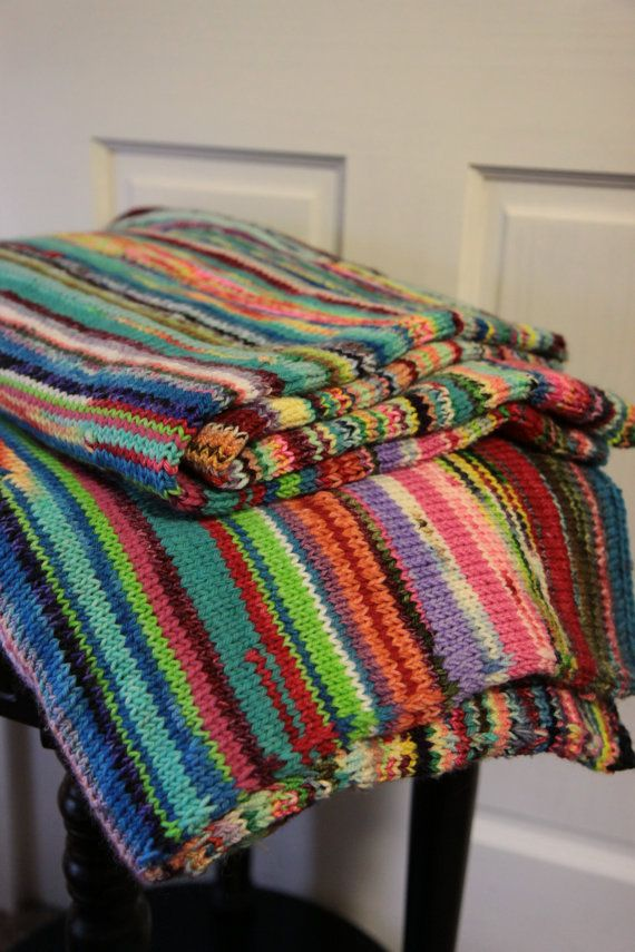 Lap Blanket - Multicolored Chunky Knit Warm Soft Merino Wool Cozy ...