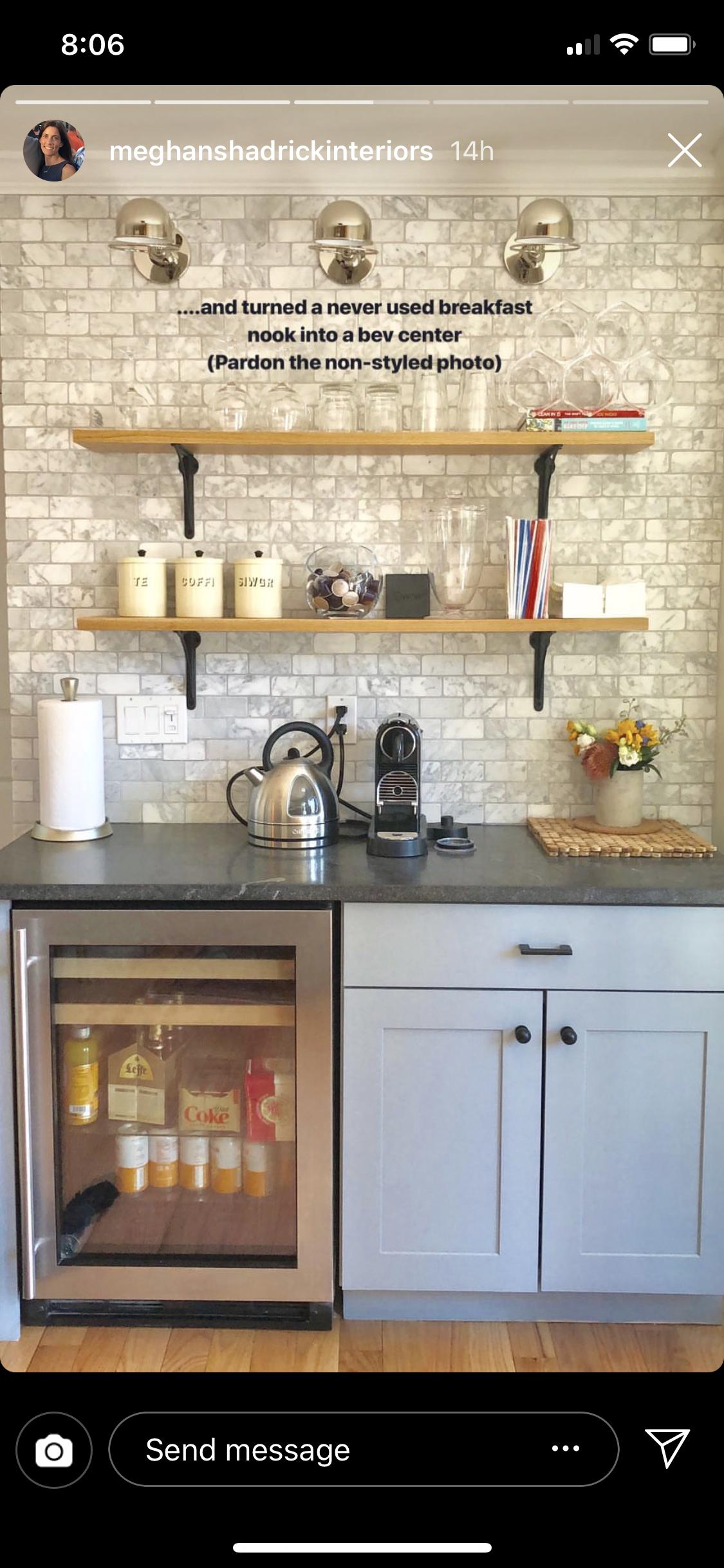 coffee bar  mini fridge kitchen breakfast nook