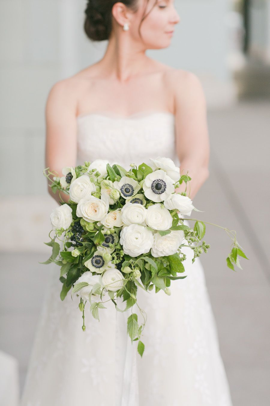Gorgeous white anemone and peony wedding bouquet: Photography : Julie Mikos - http://www.juliemikos.com/