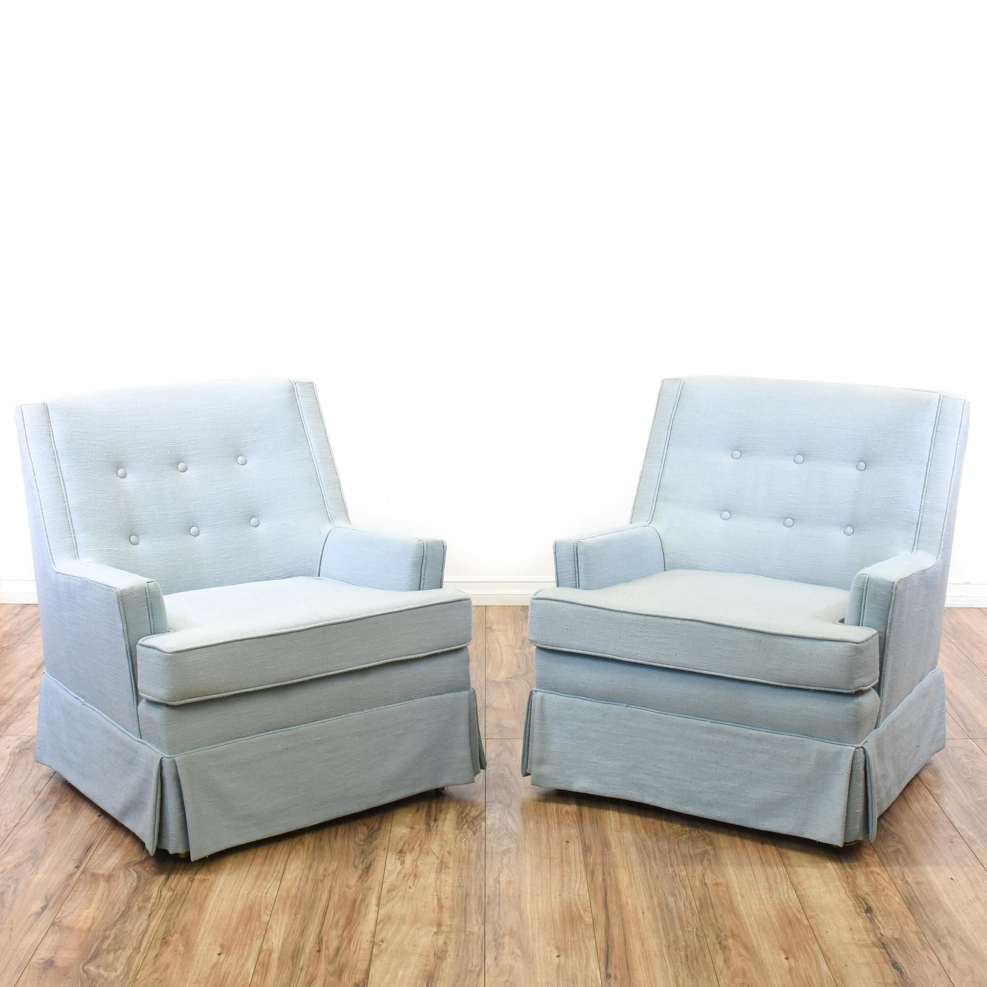 Pair Of Simple Light Blue Armchairs