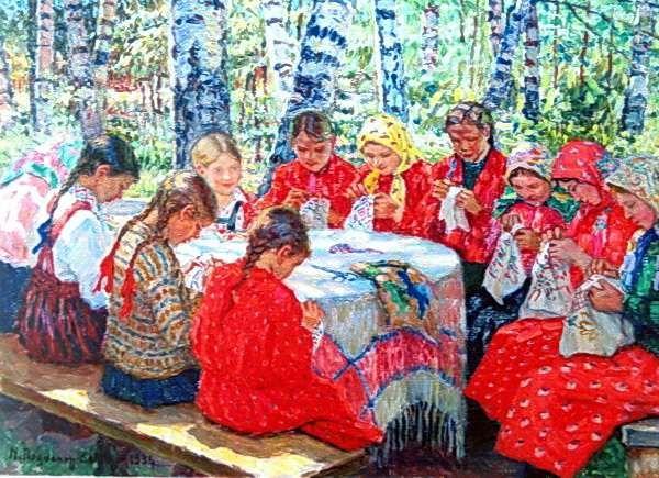 Кружок рукоделия в русской деревне. 1936  Богданов-Бельский Николай Петрович