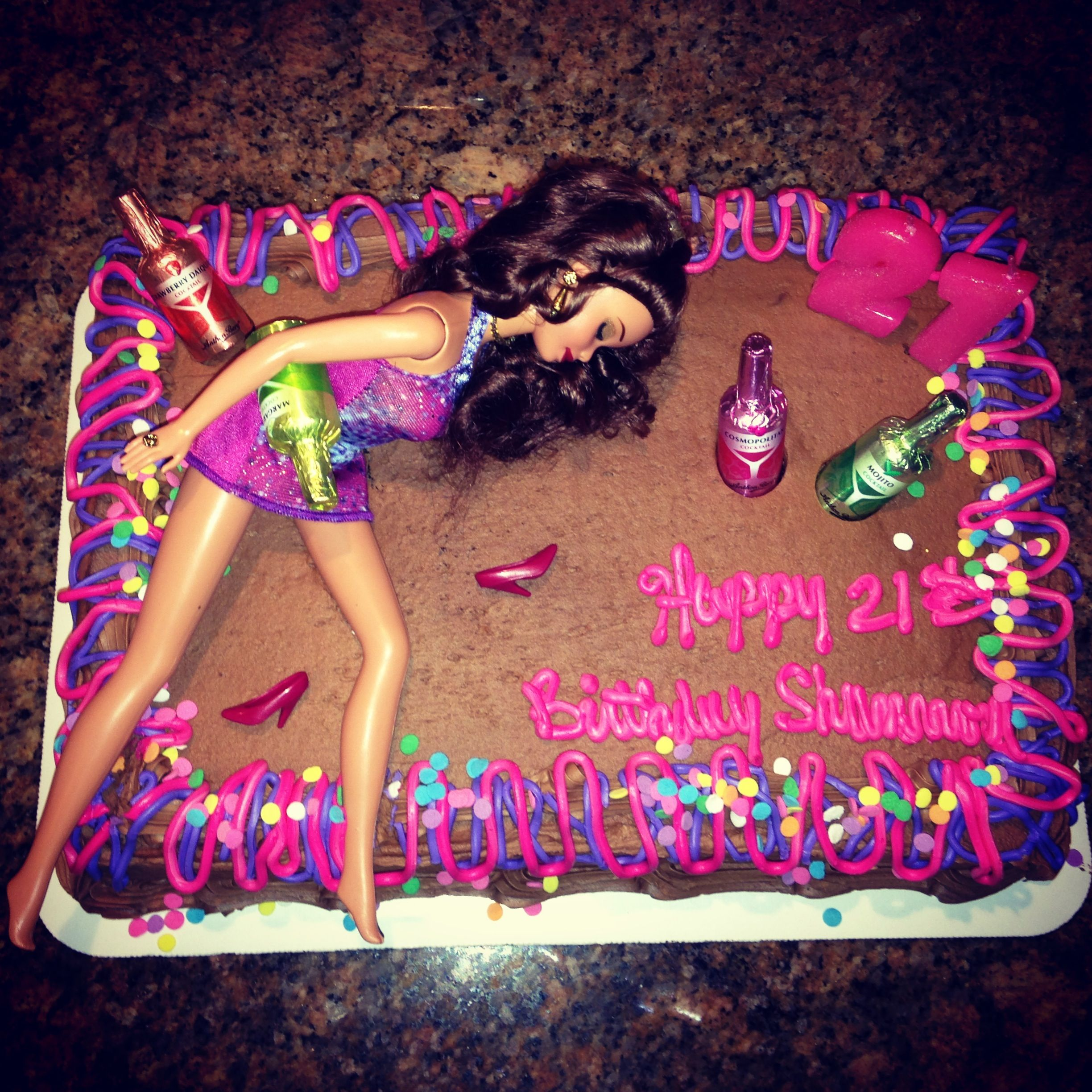 21st Birthday Drunk Barbie Cake! This Is So Cute!! I Want