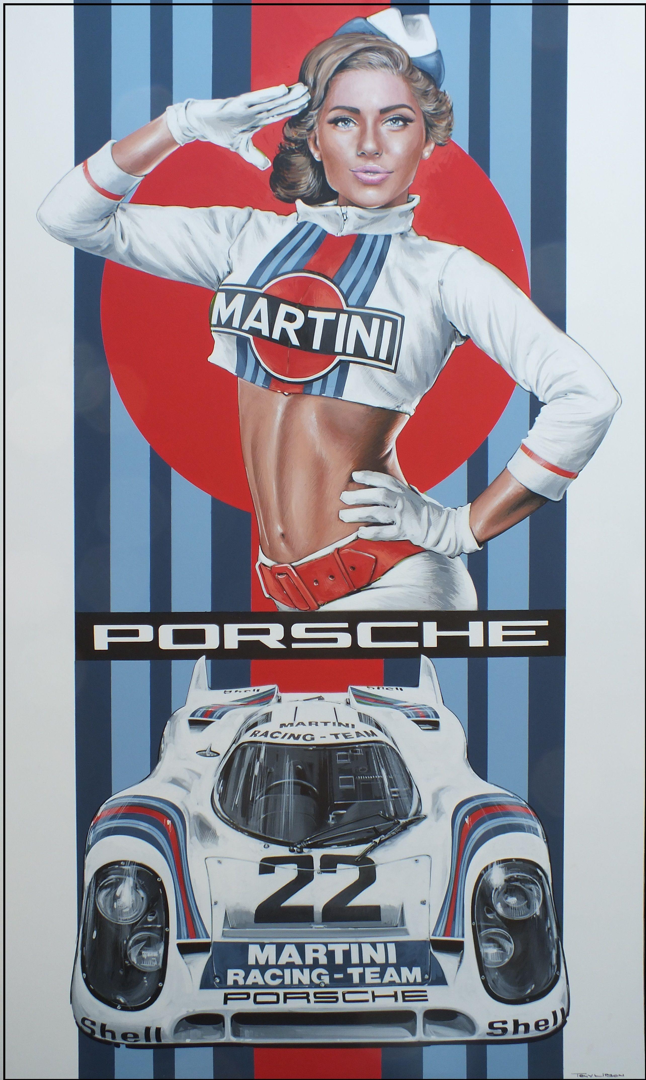 Home gt steve mcqueen porsche paintings - Martini Porsche Artwork