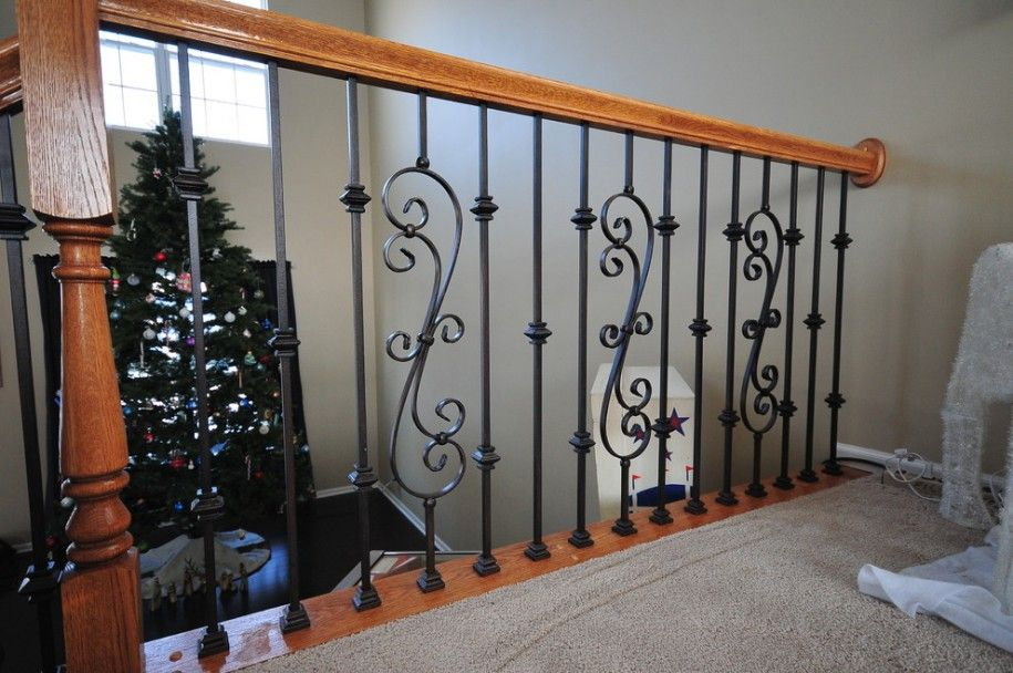 ديكورات سلالم حديد Staircase Design Iron Balusters Wood Balusters