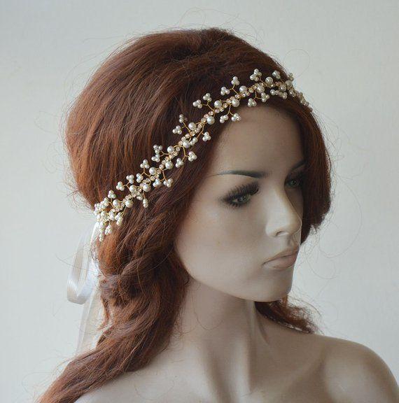 Photo of Hochzeit Haarrebe, Perle und Strass, Kristall Braut Halo Haarteil, Braut Kopfbedeckung, Hochzeit Stirnband, Haarschmuck, Für die Braut