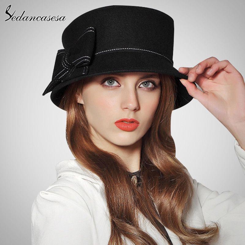 6c7ba4f50fbe8 Europe American Sombreros Women 100% Australian Wool Cloche Fedora Hats  Women Basin Formal Winter Autumn Derby Hat Love it   shop  beauty  Woman s  fashion ...