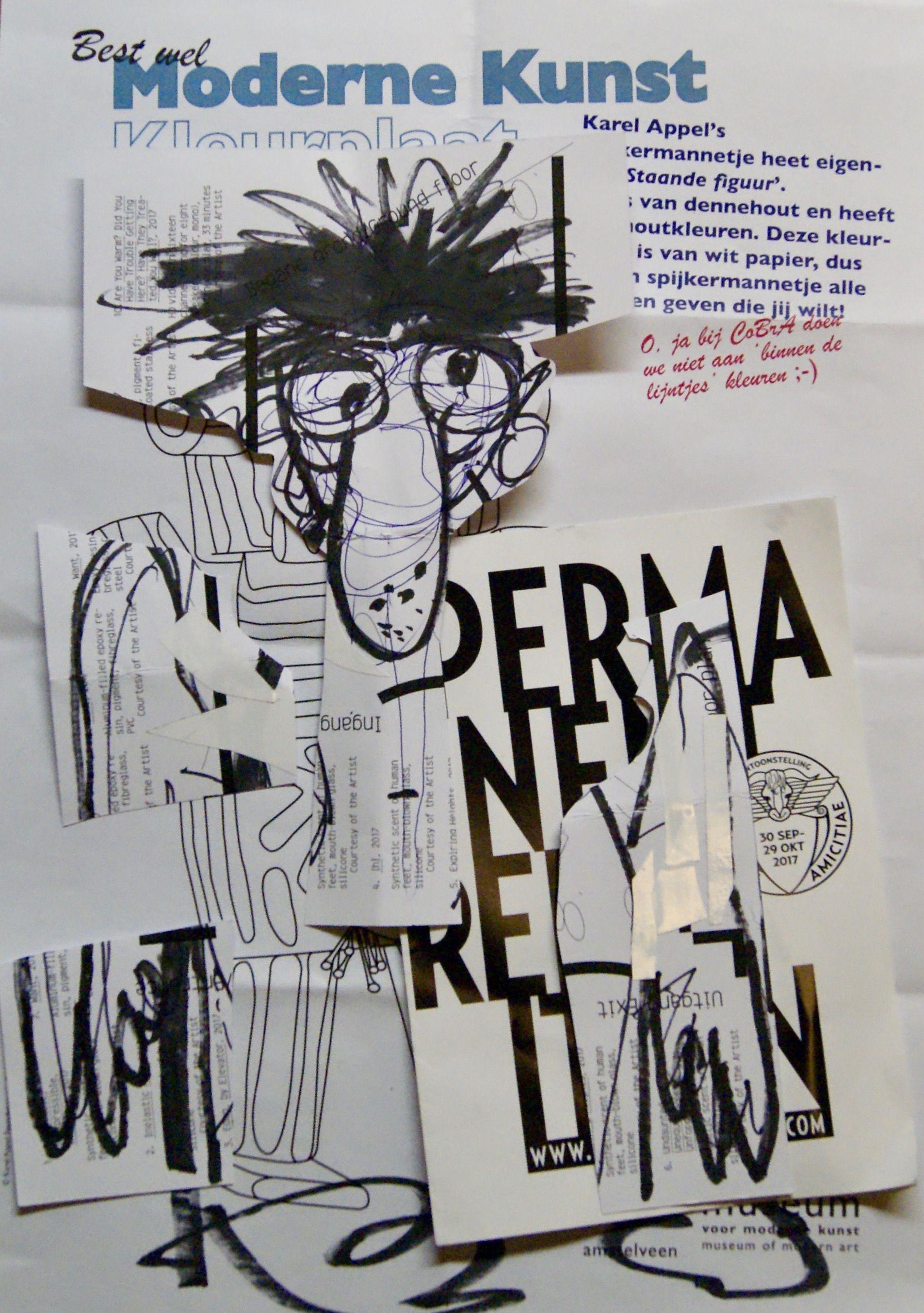 bewerkte kleurplaat cobra museum moderne kunst kleuren