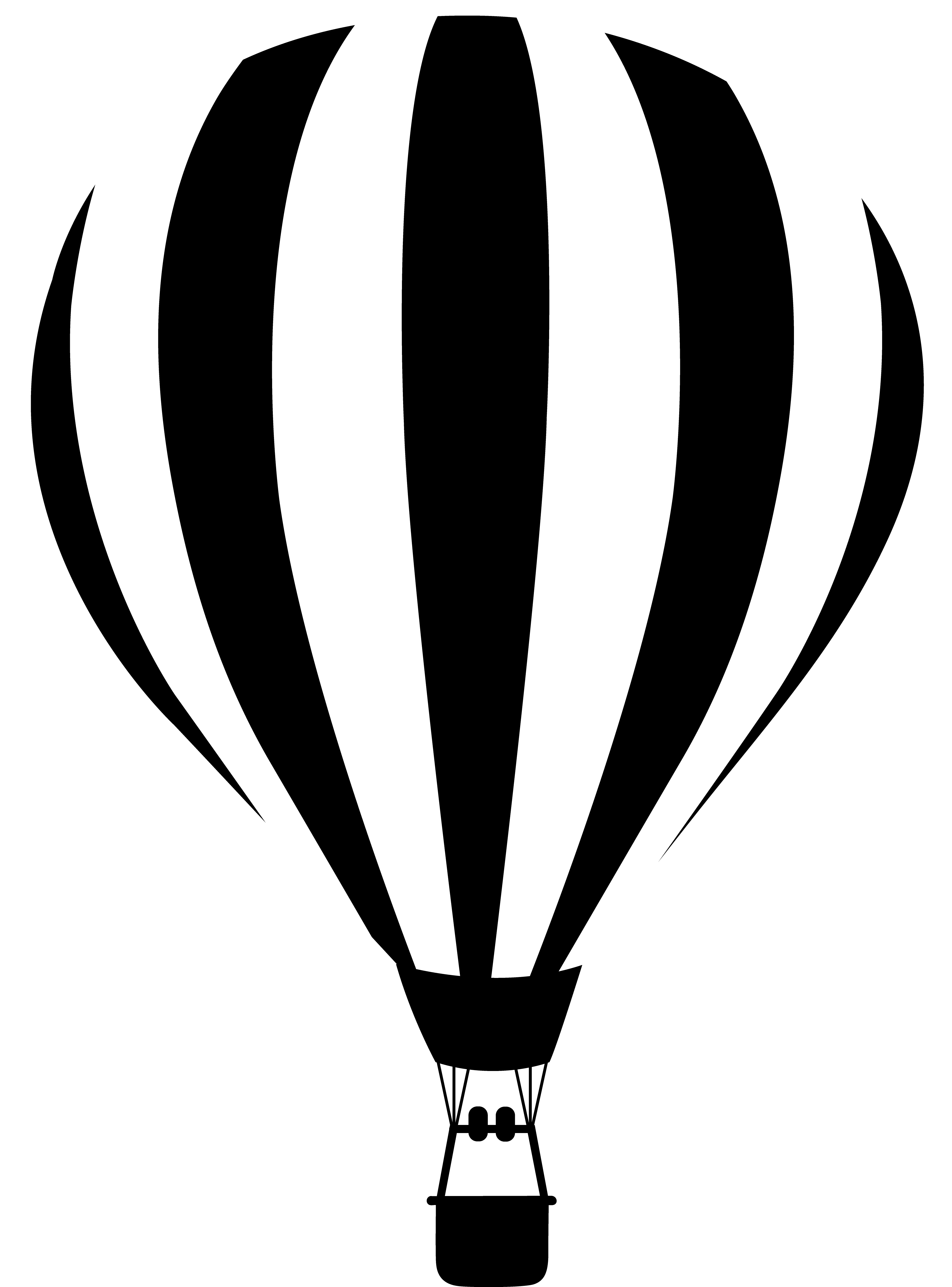 Printable coloring pages hot air balloons - Black And White Silhouette Images Black And White Striped Hot Air Balloon