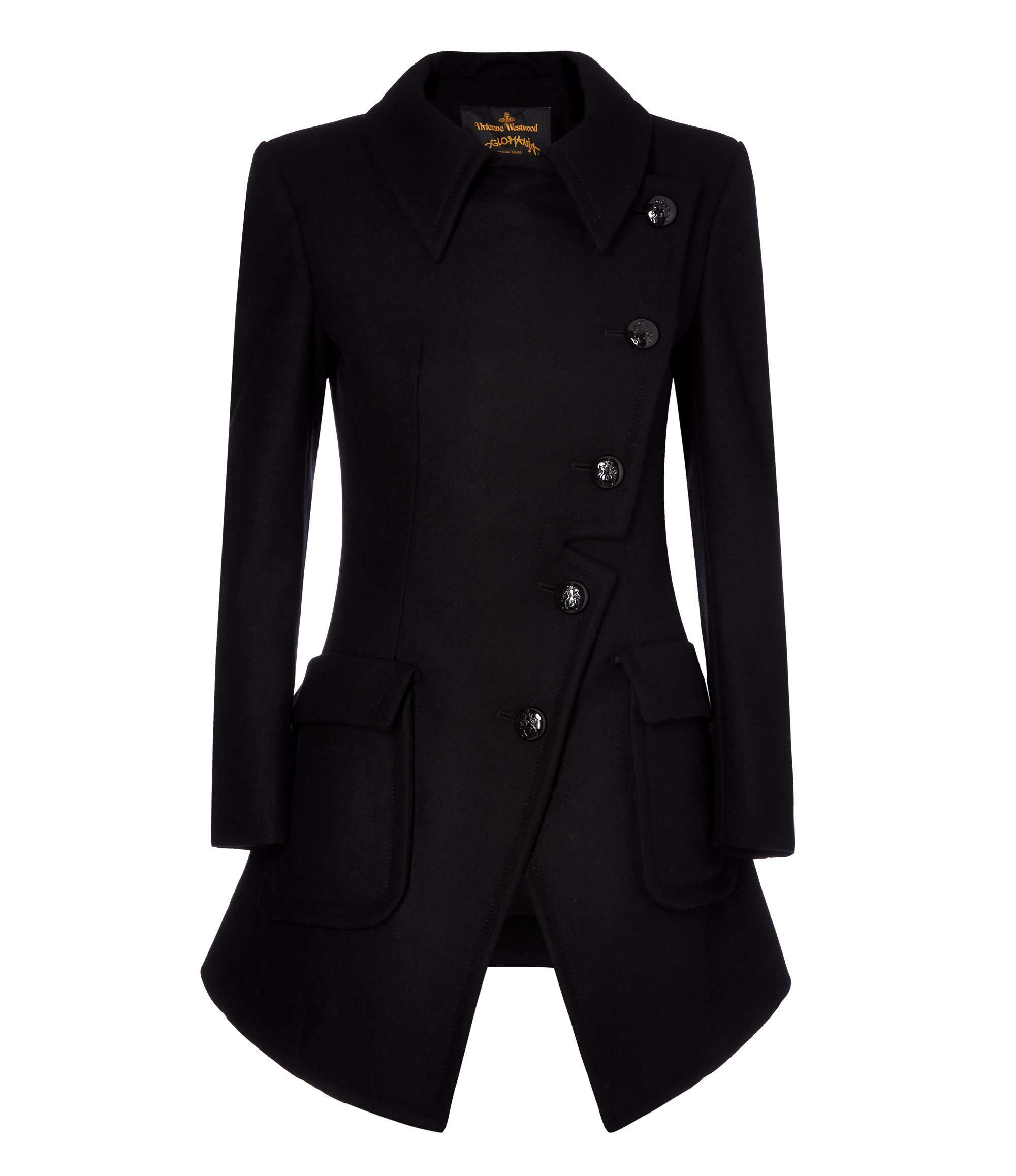 Ladies Black Military Coat | Down Coat