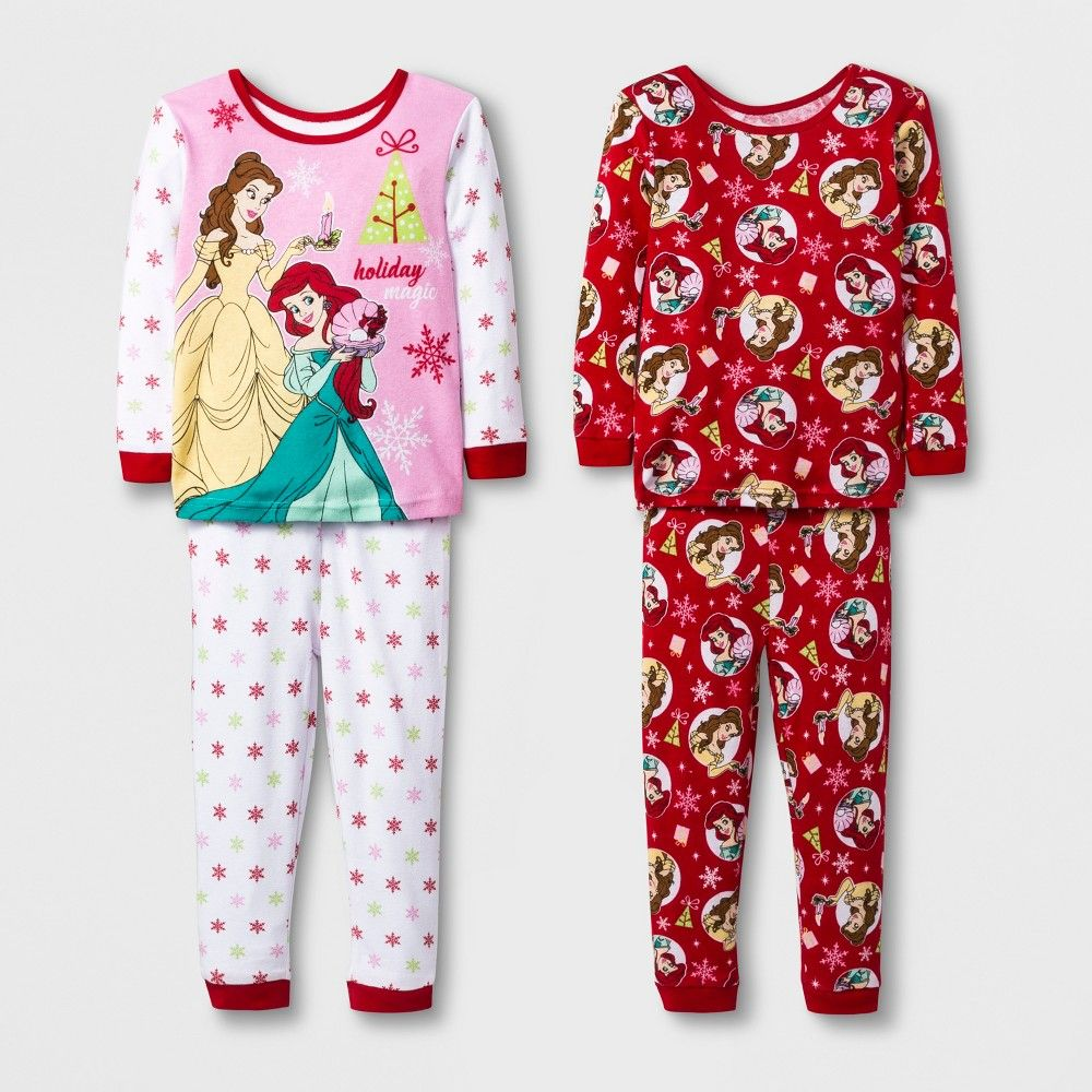 26dc26d6c9 Toddler Girls  Disney Princess 4pc North Pajama Set - White 2T ...