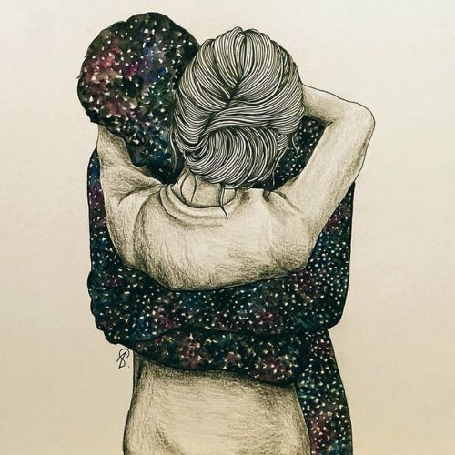 Pra mim, teu abraço é o céu. (Ilustração Lucy Salgado)