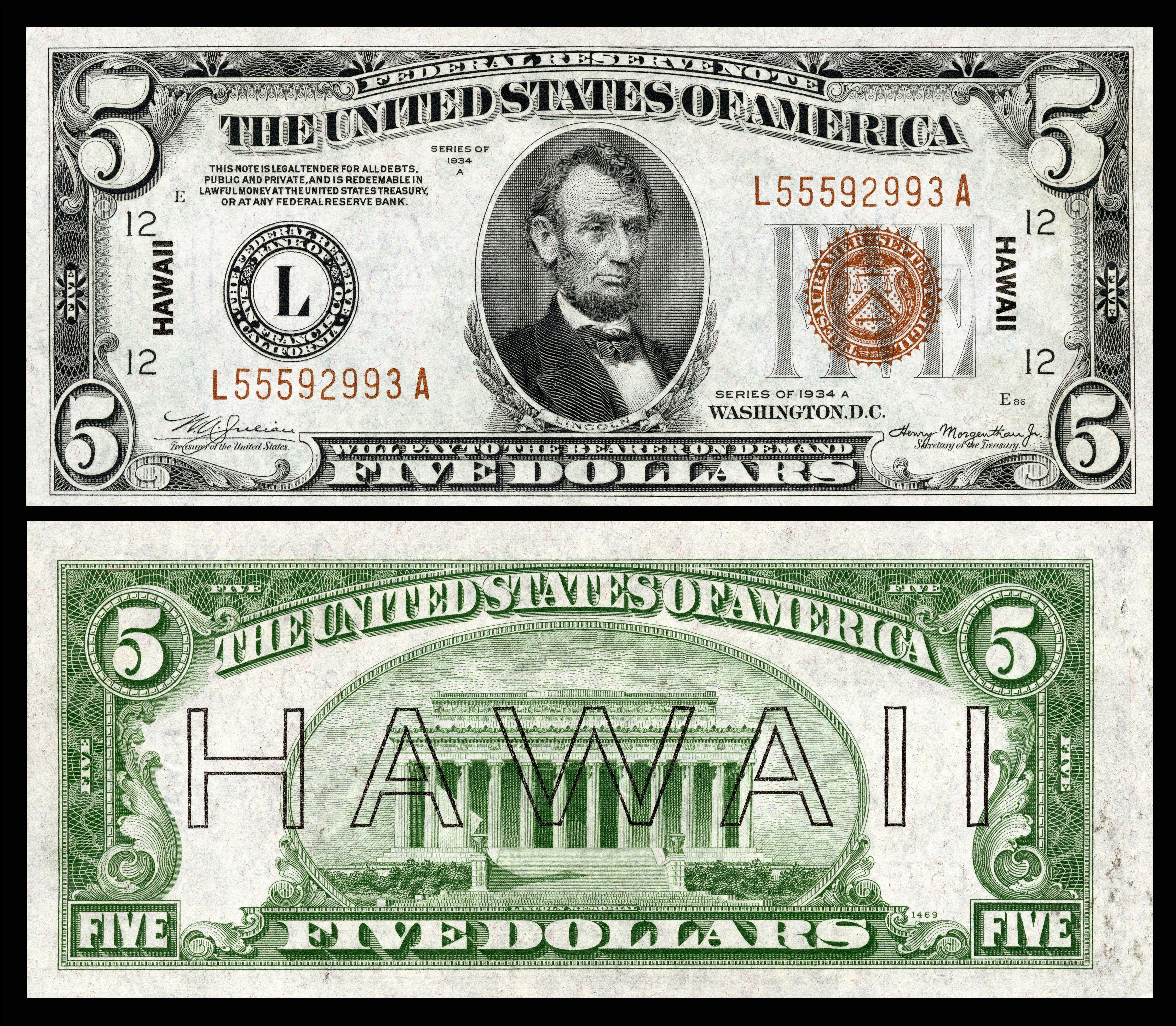 Not J-Currency: Hawaii Overprint US-$5-FRN-1934-A-Fr.2302.jpg (4500×3927)