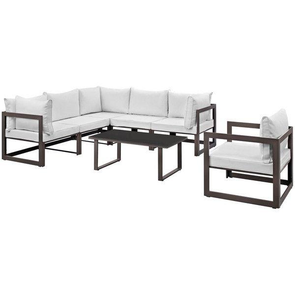 Modway Furniture Fortuna 7 Piece Outdoor Patio Sectional Sofa Set