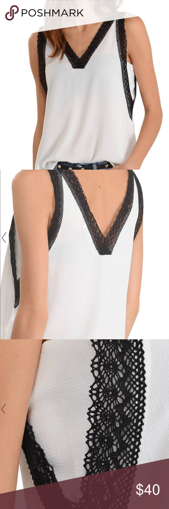Galeries Lafayette White Tank with Black Lace Trim Purchased in Paris! Only  worn one time