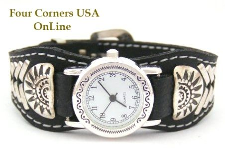 Four Corners USA Online - Women's Sterling Leather Watch Strap Native American Indian Navajo Jewelry NAW-1412SW, $101.00 (http://stores.fourcornersusaonline.com/womens-sterling-leather-watch-strap-native-american-indian-navajo-jewelry-naw-1412sw/)