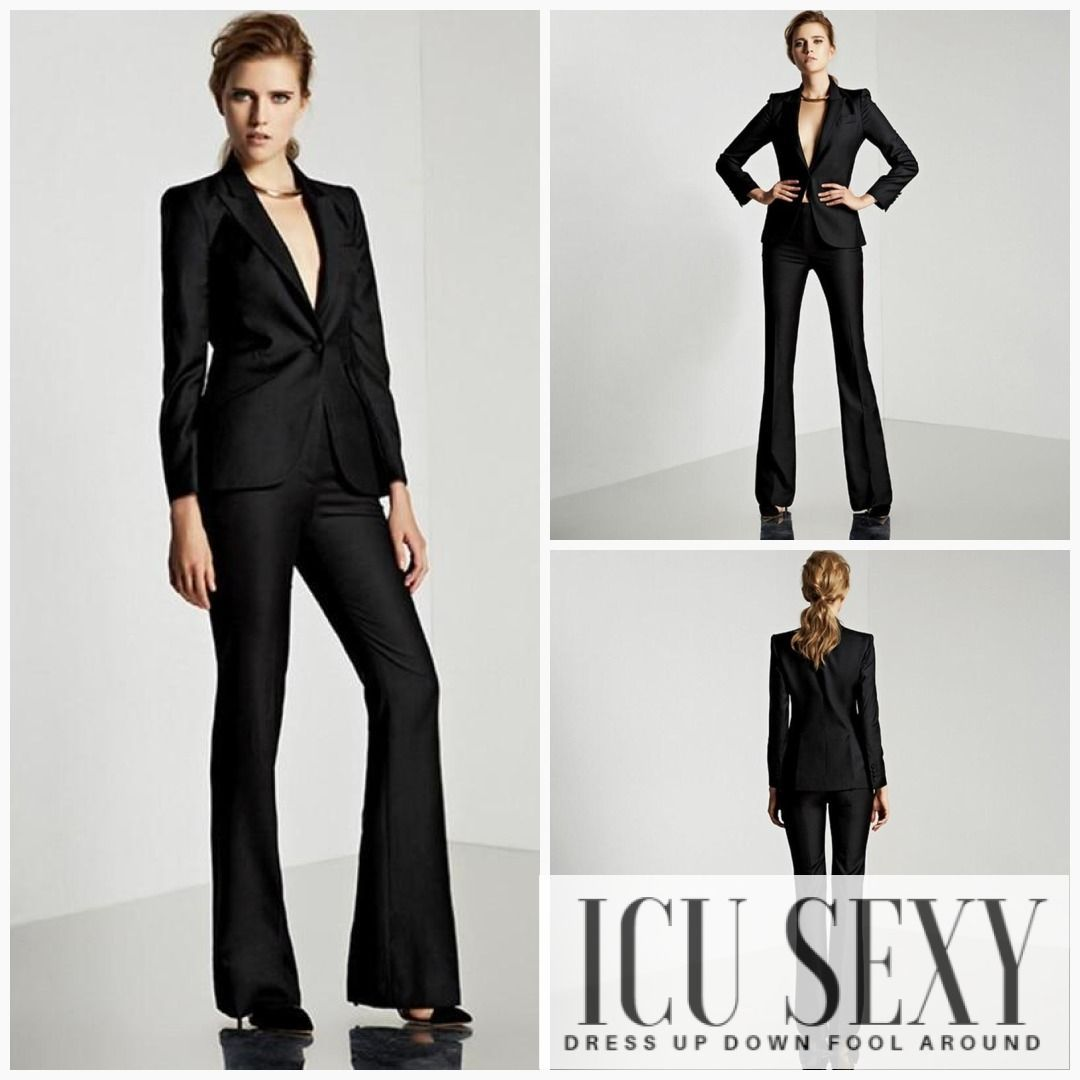 Women's 2020 Fashion Solid Black Single Breasted Wear To Work 2 Pieces Jacket+Pant Suit      Source