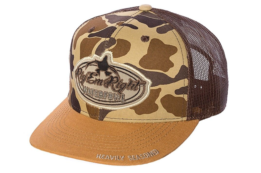 Camo Front New Bill Trucker Hat    Rig Em Right Waterfowl    Hunting Gear 501833ba8f4