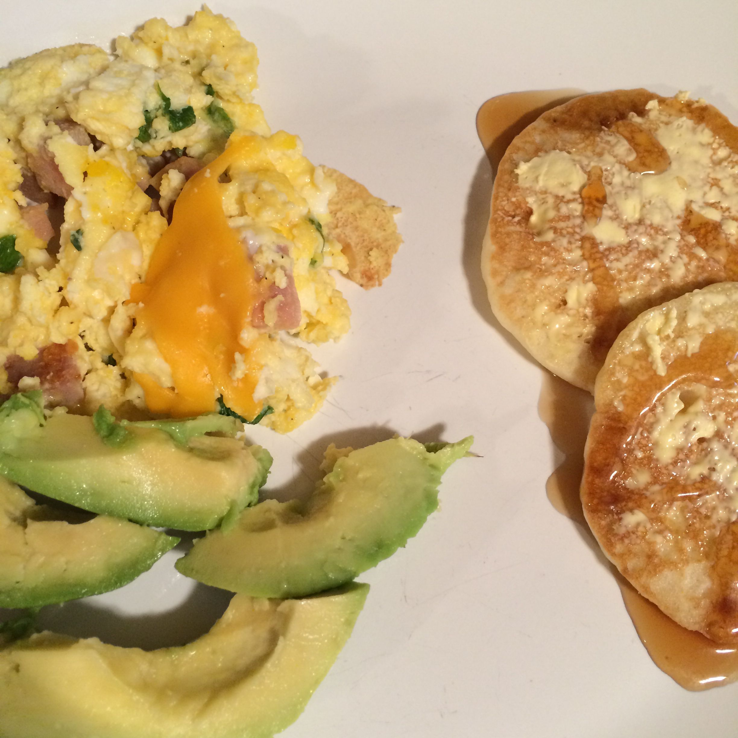 Ham And Avocado Scramble Recipe: Breakfast For Dinner! Souped Up Scrambled Eggs With Cheese