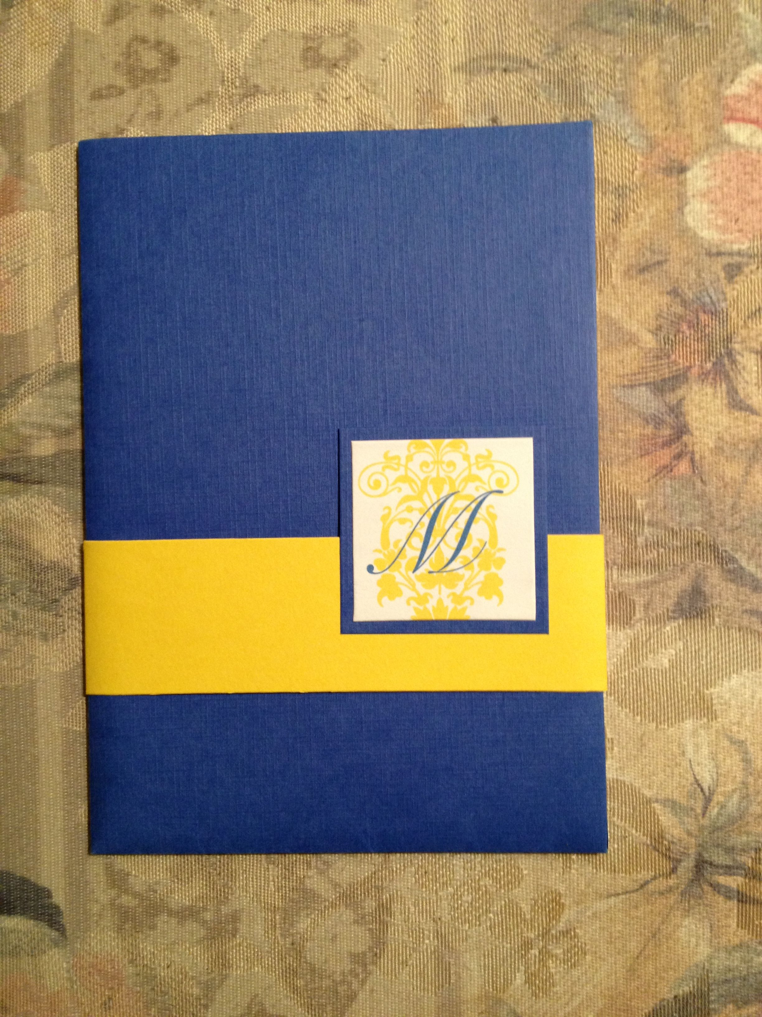 and the front of the blue and gold damask invitations ensemble.