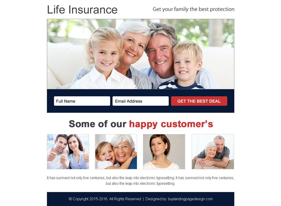 Life Insurance Free Quotes Best Life Insurance Best Deal Free Quote Ppv Landing Page Design