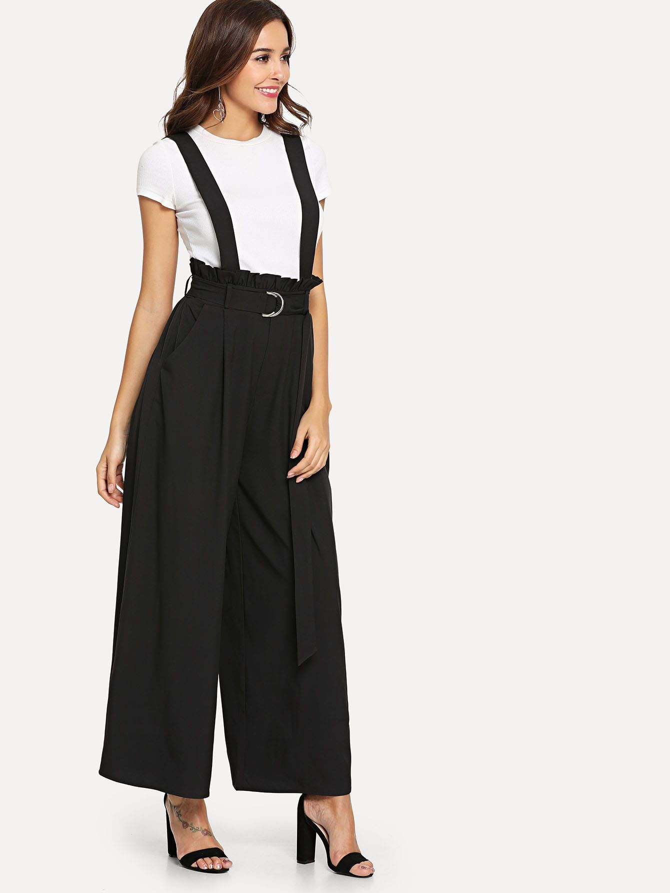 42ce76fd77 Young Preppy Plain Wide Leg Loose Mid Waist Black Long Length D-Ring Belted  Palazzo