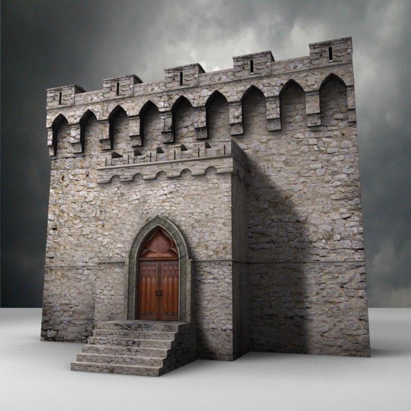 Castle Walls 3d Model Fantasy Castle Minecraft Castle Walls Model Castle