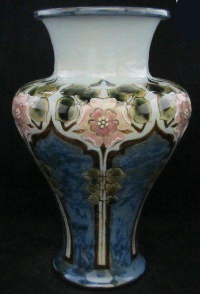 Art Nouveau Vase Beautiful Colors Doulton Lambeth C1910