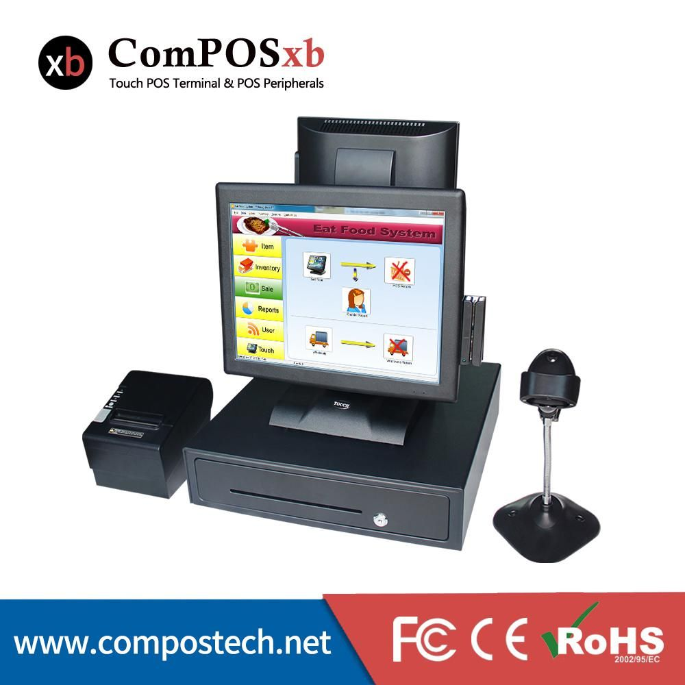 Dual screen pos system 15 inch pos touch all in one pc cash