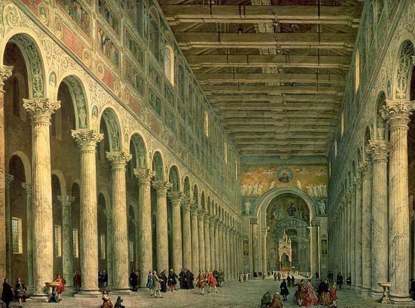 Interior Of The Church Of San Paolo Fuori Le Mura By Giovanni Paolo Panini Italian Paintings Rome Italian Painters
