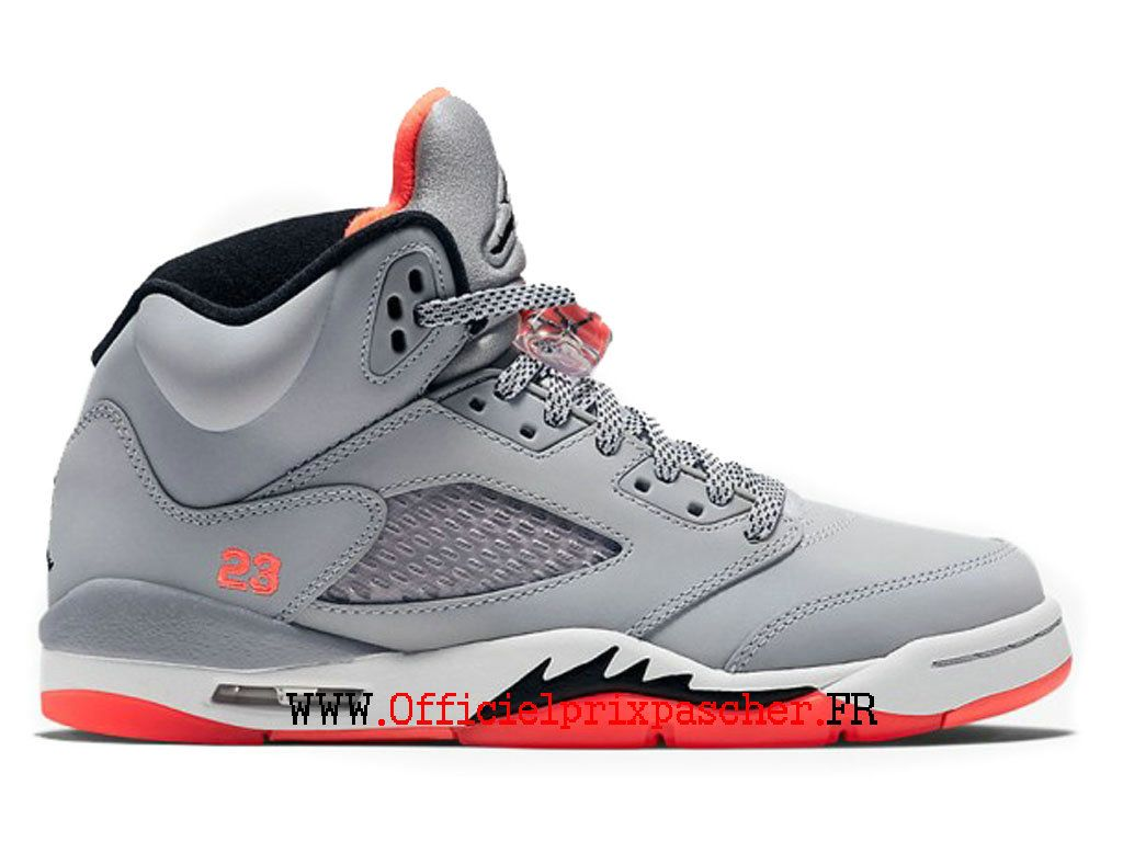 9ac8f71aaf61 Air Jordan 5 V Retro GS Exercice Chaussures Officiel Jordan Pas Cher Pour  Femme Gris rouge