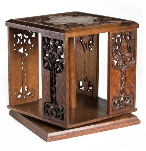 Revolving Book Case Arts And Crafts Table Top Revolving Bookcase, With Open  Carved Panels Of