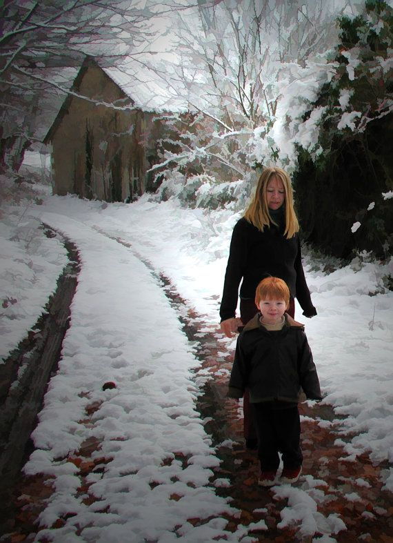 beautiful snowy lane with mother and son in winter by Good2look, €15.00