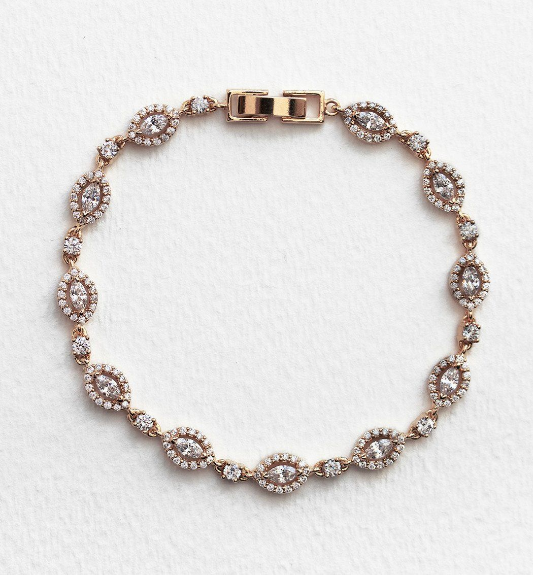 Daisy cz tennis bracelet in rose gold tennis bracelets and rose