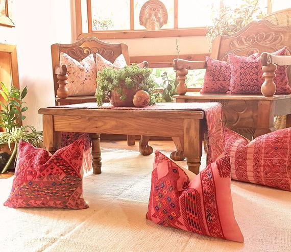 Embroidered Horse Pillow ~ Guatemalan textured textile ~ Pink Hupil ~ Bohemian hand woven and embroidered boho cushion cover