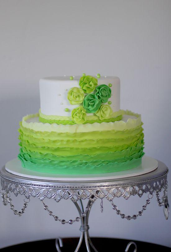 wedding buttercream cake green ombre Google Search Cakes
